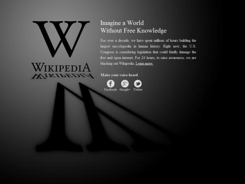 Wikipedia en contra de la Ley SOPA
